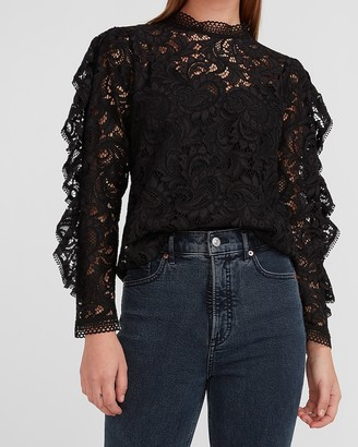 Express Lace Mock Neck Ruffle Sleeve Top
