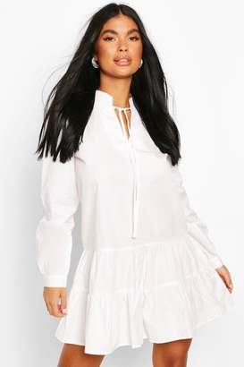boohoo Petite Long Sleeve Smock Dress