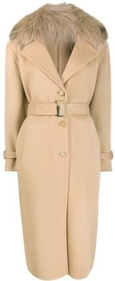 Ermanno Scervino Fur Collar Single Breasted Coat