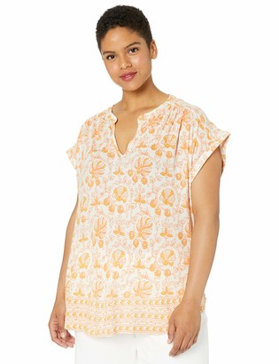 Lucky Brand Women's Plus Size Woodblock Printed Tank TOP