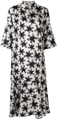 Odeeh Abstract Floral-Print Silk Midi-Dress