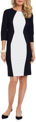 Joan Vass Colorblocked Semi-Fitted Ponte Dress