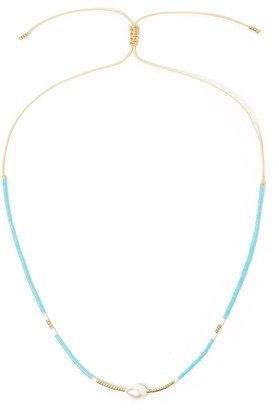 Arms Of Eve Taylor Pearl & Glass Beaded Necklace - Turquoise