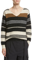 Brunello Cucinelli Striped Wool-Cashmere-Silk V-Neck Sweater