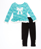 Teal Lace Bow Tunic & Leggings - Toddler & Girls