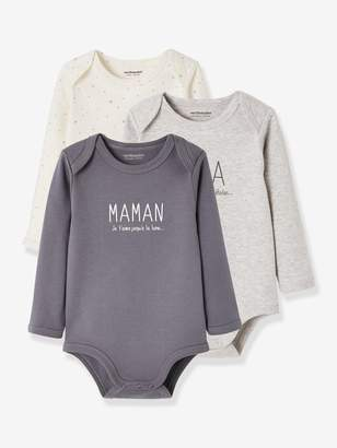 """Vertbaudet Pack of 2 Long-Sleeved Bodysuits for Babies, """"papa/maman"""" (Daddy/Mummy)"""