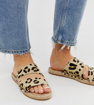 Asos Design DESIGN Wide Fit Vienna leather espadrille flat sandals in leopard pony-Multi