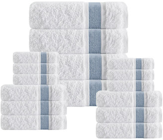 Enchante Home Unique 16Pcs Blue Stripe Towel Set