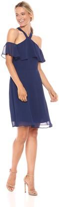 Kensie Dress Women's Off The Shoulder POP Over Halter Dress