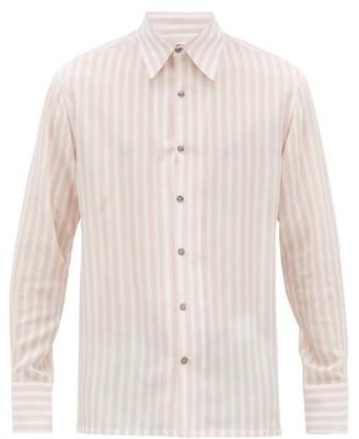 73 London - Portofino Striped Silk-voile Shirt - Mens - Pink Stripe