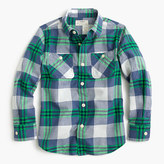 J.Crew Boys' crinkle poplin shirt in green-navy plaid