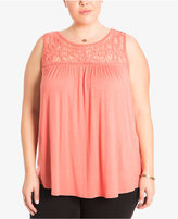 Eyeshadow Trendy Plus Size Crochet Illusion Top