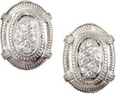 Judith Ripka Pave Sapphire Oval Post Earrings