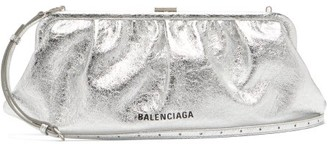 Balenciaga Cloud Xl Crackled Metallic-leather Cross-body Bag - Silver