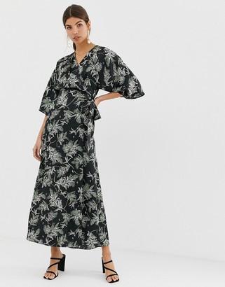 Liquorish kimono sleeve midi dress in black floral print