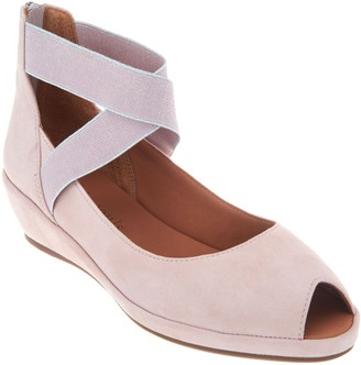 Gentle Souls by Kenneth Cole Gentle Souls Leather Peep Toe Wedges - Lisa