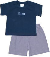 Princess Linens Blue & White Personalized Tee & Gingham Shorts - Infant & Boys