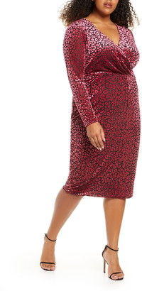 Rachel Roy Willa Leopard Burnout Long Sleeve Dress