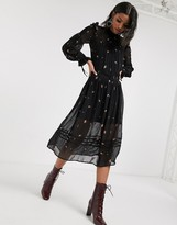 Topshop midi dress with embroidery in black