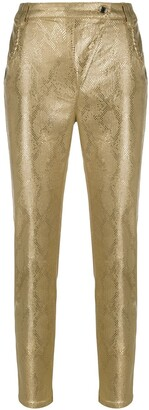 Patrizia Pepe Metallic Snake-Effect Trousers