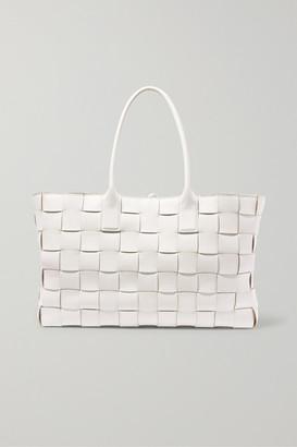 Bottega Veneta Cabas Medium Intrecciato Leather Tote - White