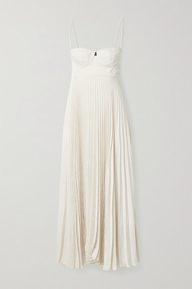 Magda Butrym Pleated Crepe Maxi Dress - Beige