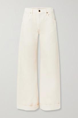 KHAITE Noelle Cropped High-rise Wide-leg Jeans - Ivory