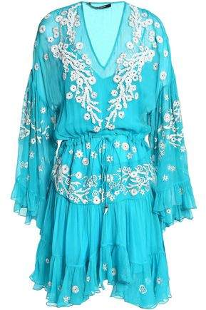 Roberto Cavalli Gathered Embellished Silk-gauze Dress