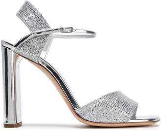 Casadei Leather-trimmed Glittered Sandals