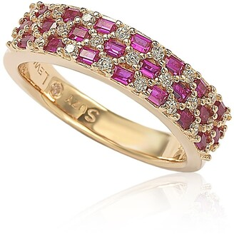 Suzy Levian Pave Red & White CZ Eternity Band