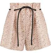 3.1 Phillip Lim Leather-Trimmed Pleated Tweed Shorts