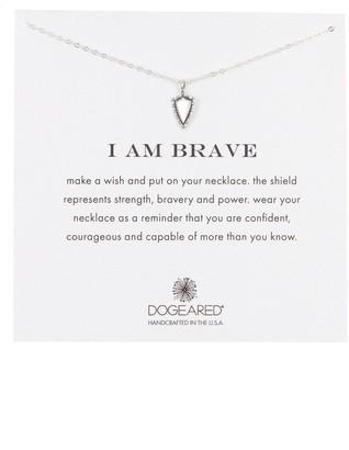 Dogeared Sterling Silver I am Brave Shield Pendant Necklace