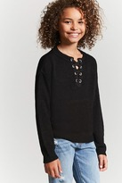 FOREVER 21 girls Girls Lace-Up Sweater Knit Top (Kids)