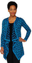 Liz Claiborne New York Jacquard Knit Cascade Front Cardigan