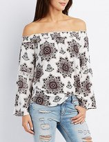 Charlotte Russe Printed Smocked Off-The-Shoulder Top