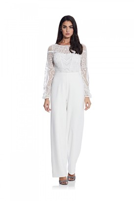 Adrianna Papell Bead Crepe Jumpsuit In Ivory