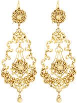 Jose & Maria Barrera Golden Filigree Crystal Teardrop Earrings