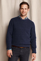Classic Men's Textured Mixed Stitch Crewneck Sweater-Umber Stripe