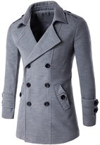 YesFashion Men's Fashion Pure Colour Double Breasted Coat 2XL