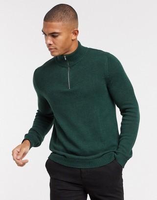 ASOS DESIGN midweight cotton half zip jumper in forest green