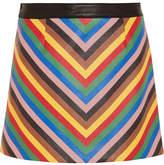 Sara Battaglia Rainbow Striped Leather Mini Skirt - Blue