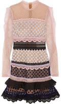 Self-Portrait Ruffle-trimmed Guipure Lace Mini Dress - Pink