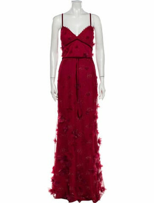 Marchesa Patterned Long Dress w/ Tags Red