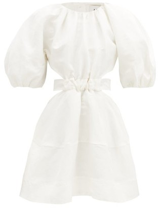 Aje Psychedelia Puff-sleeved Cutout Linen-blend Dress - White