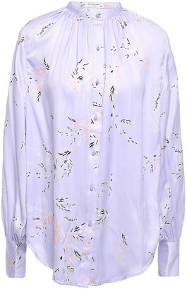 Equipment Causette Floral-print Washed Silk-blend Satin Blouse