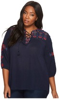 Lucky Brand Plus Size Lace-Up Embroidered Top Women's Long Sleeve Pullover