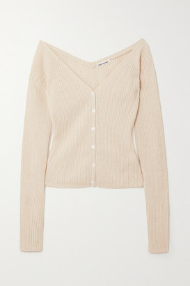 Reformation Faro Cropped Off-the-shoulder Ribbed Cashmere Cardigan - Cream