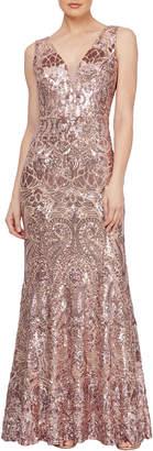 Ignite Glitter Sequin Plunge-Neck Sleeveless Gown
