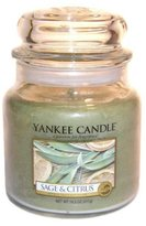 Yankee Candle Sage and Citrus Medium Jar Candle, Fresh Scent