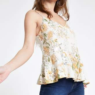 River Island Womens Petite Cream floral sequin cami top